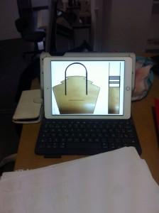 realización boceto bolso ordenador